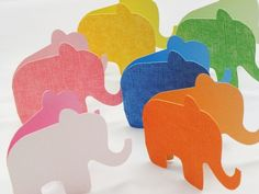 Blank Elephant Shaped Folded Cards -  Set of 6 via Etsy.