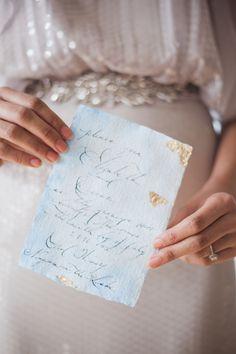 Fine art calligraphy invitation, soft blue watercolour, gold leaf www.corsivocalligraphy.com Photography: Gemini Photography geminiphotographyontario.com Read More on SMP: http://www.stylemepretty.com/2016/04/08//