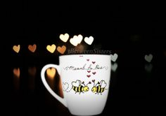 Couples Bee love coffee mug set of two by 3BetweenSisters on Etsy, $15.00