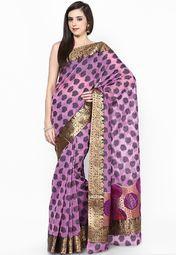 Designer Supernet Cotton Banarasi Border Magenta Saree