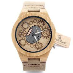 BOBO BIRD Visible japanese miyota 2035 movement men wristwatches genuine leather bamboo wooden watches
