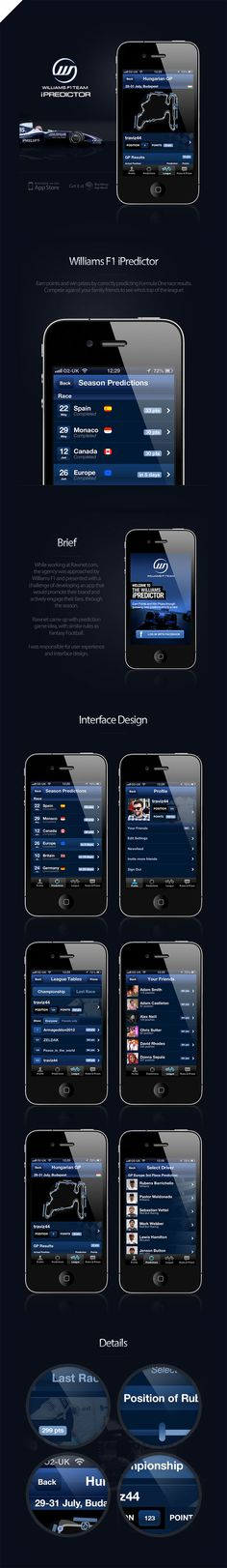 Williams F1 iPredictor by Przemek Bembnista, via Behance