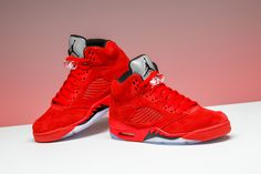 """EARLY ACCESS: Air Jordan 5 """"Red Suede."""" Available NOW for retail while supplies last."""