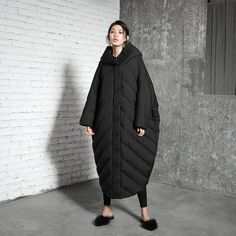 Womens Loose Fitting Silhouette Hooded Cape Down Coats Jacket With Pockets a5b6a62a95e