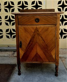 side table with pediment, maple & cedar parquetry facade, top drawer/storage cabinet, orginal pulls, exceptional condition. Parquetry, Top Drawer, Storage Drawers, Cabinet, Antiques, Table, Furniture, Vintage, Home Decor