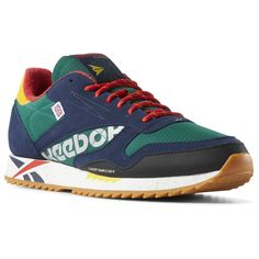 Reebok Shoes Unisex Classic Leather Ripple Altered in Green Red Yellow Size  M 4   W 5.5 - Retro Running Shoes 071a51fa1