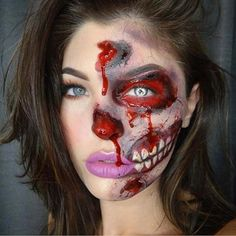 50 Terrifyingly Creative Halloween To Try Fashionisers© makeup ideas for zombies - Makeup Ideas Halloween 2018, Halloween Zombie Makeup, Barbie Halloween, Halloween Look, Amazing Halloween Makeup, Maquillaje Halloween, Bloody Halloween, Zombie Prom, Horror Make-up