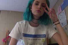Image via We Heart It #bluehair #grunge #hair #hipster #lovely #pale #pastel #peace #pink #tumblr #sitemodel #chocker #asthetic #tumblrgirl