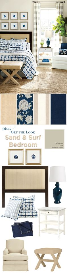 Get the look! Sand and surf inspired bedroom with shibori bedding and raffia ottoman and headboard
