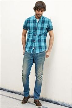 Buy Turquoise Textured Check Shirt from the Next UK online shop