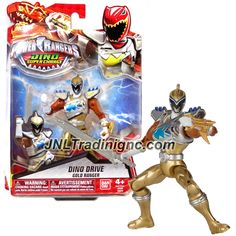 "Bandai Saban's Power Rangers Dino Super Charge Series 5"" Tall Figure - Dino Drive GOLD RANGER with Gauntlet Blaster and Sword"
