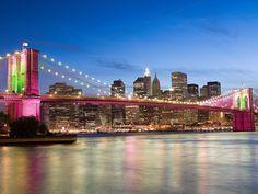 NYC bridge all lit up