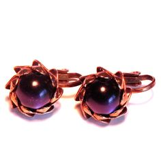 Vintage Copper Earrings With Purple Bead Stunning