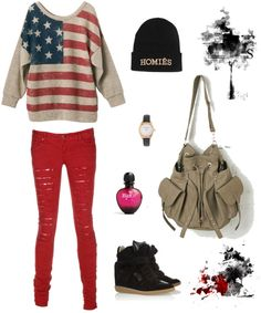 """""""American Flag Print"""" by harmony-htet ❤ liked on Polyvore"""