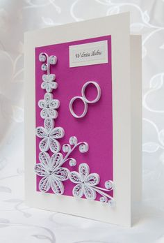 Unique, handmade Wedding card - quilled white flowers and wedding rings