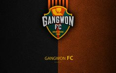 Download wallpapers Gangwon FC, 4k, logo, South Korean football club, K-League Classic, leather texture, emblem, Gangwon-do, South Korea, football championship