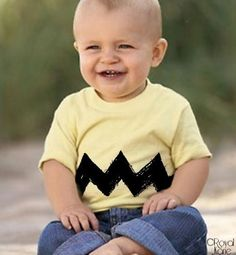 Omigod - so cute!  Would look awesome if your little one is a baldie, like mine were. :)  Would still consider it for my almost 2 year old! lol  Good and easy DIY idea - yellow shirt, sew on black zig zag, or fabric paint, blue pants.