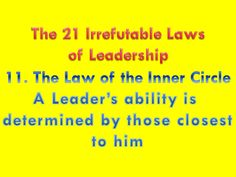 The 21 Irrefutable Laws of Leadership - 11. The Law of the Inner Circle