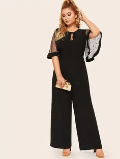 To find out about the Plus Tie Neck Sequin Mesh Flutter Sleeve Wide Leg Jumpsuit at SHEIN, part of our latest Plus Size Blouses ready to shop online today! Plus Size Jumpsuit, Jumpsuit With Sleeves, Black Jumpsuit, Plus Size Womens Clothing, Plus Size Outfits, Clothes For Women, Types Of Sleeves, Half Sleeves, Flutter Sleeve