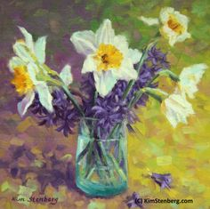 """Daffodil Hyacinth Painting Original Oil Painting """"Spring Miracles"""" by KimStenbergFineArt $300"""