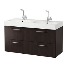 GODMORGON / BRÅVIKEN Sink cabinet with 4 drawers, black-brown black-brown 47 1/4x19 1/4x26 3/4
