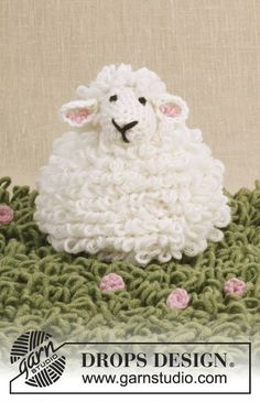"""Crochet DROPS sheep with loop sts in """"Merino Extra Fine"""" ~ DROPS Design"""