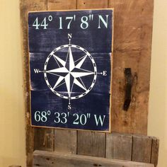 Latitude and longitude wooden distressed sign, custom coordinate sign,distressed painted wood sign,nautical sign, nautical decor,beach decor by KnottyPineDesignCo on Etsy