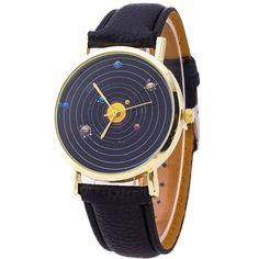 Men Women Relogio Watch Fashion Casual Planet Pattern PU Leather Quartz Analog Watch Unisex Wrist Dress Watches Cheap Wholesale