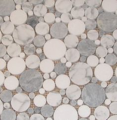 """Seems like this would be a """"whimsical"""" alternative to hex tile.  Carrara Marble with Grey Smoke and Thassos Bubble Mosaic Polished"""