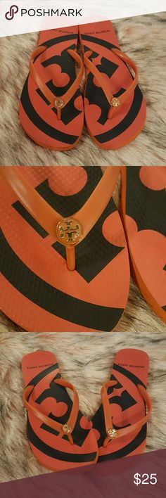 TORY BURCH EMORY RUBBER FLIP FLOPS  8 Super cute Tory Burch flip flops. The style is Emory. They are a just a little more red than the photos. Enamel logo. They are in good preloved condition with little wear. I always think I can cram my feet into shoes that are too small.  The beach is waiting for you... Tory Burch Shoes Sandals
