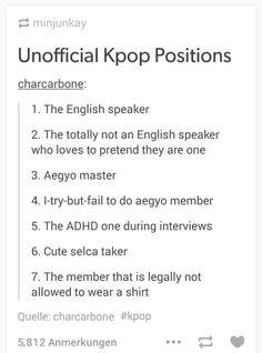 LETS SEE! ill do this in BTS-Rap mon is the absolute english speaker! there u have suga whos the wannabe-english-speaker-that-rlly-thinks-he-can-live-in-america. The aegyo master we all know is Jhope! the fail aegyo master is V for sure with his derp faces. And jimin, with those chocolate abs obviously always sleevless or non at all. Cute selca is most probably our handsome jin and suga!!
