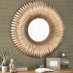 Specchio Tivoli Maison du Monde #specchio #dorato #sole #fiore #piume #petali #tondo