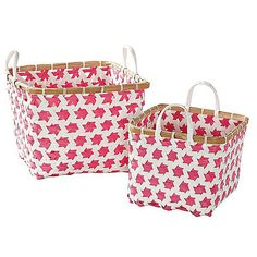 Serena & Lily's cabana bins ($48/set of 2) are made of plastic pallet strapping, which rinses off easily. They add a casual pop of color, and make cleanup time super-easy for little ones.
