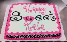 sweet 16 cake in zebra and pink by amescakes 1 2 sheet chocolate cake ...