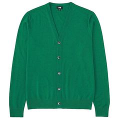 UNIQLO Extra Fine Merino V Neck Cardigan ($46) ❤ liked on Polyvore featuring mens, men's clothing and men's sweaters