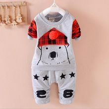 New baby girls christmas outfits Clothing sets Cartoon bear T shirt+pant Children coat spring autumn kids 2pcs sport Suit 1-4T(China (Mainland))