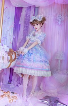 Moonlight Forest -Fantasy Castle- Short Sleeves Lolita OP Dress with Overskirt