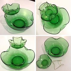 #Vintage #Green #Glass #AnchorHocking #ChipAndDip Set c. #1960's . Please click link below for pricing and details.  | Rocket Century  - St. Louis, MO