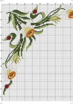 Cross Stitch Borders, Cross Stitch Flowers, Cross Stitch Patterns, Handmade Crafts, Diy And Crafts, Cross Stitch Kitchen, Rico Design, Daffodils, Cross Stitch Embroidery