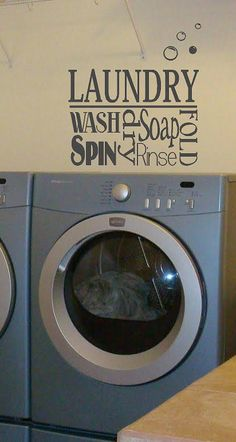 Laundry Collage- Vinyl Lettering wall words graphics  decals  Art Home decor itswritteninvinyl. $16.22, via Etsy.