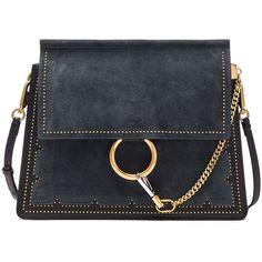 Chloe Medium Stud Leather Faye Bag (€2.175) ❤ liked on Polyvore featuring bags, handbags, shoulder bags, studded leather purse, handbags shoulder bags, handbag purse, studded shoulder bag and hand bags