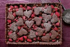 Scatter juicy raspberries over gooey dark chocolate pie straight from the oven, for the perfect combination of bittersweet bliss. Dark Chocolate Recipes, Chocolate Pies, Melting Chocolate, Raspberry Tarts, Valentines Day Dinner, Baking Flour, Almond Recipes, Let Them Eat Cake, Tray Bakes