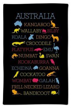 Great neon tea towel featuring Australian animals from Ogilvies Designs