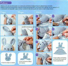 Cómo coser las piezas del conejo amigurumi y armar la manta crochet Crochet Patterns Amigurumi, Crochet Blanket Patterns, Baby Blanket Crochet, Crochet Toys, Crochet Baby, Diy Crafts Knitting, Diy Crafts Crochet, Craft Patterns, Baby Patterns