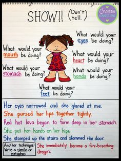 Show Don't Tell Anchor Chart! This blog post contains a complete writing lesson and the printables you'll need to create the anchor chart and replicate the activities!
