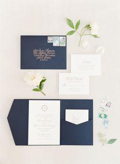 Invitations/Wedding Day Paperie: Chatham and Caron - http://www.stylemepretty.com/portfolio/chatham-and-caron   Read More on SMP: http://www.stylemepretty.com/2016/09/13/white-navy-gold-wedding/