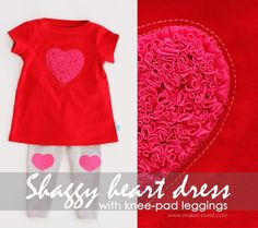 shaggy heart dress with heart knee pad leggings made from recycled t shirts Recycled T Shirts, Old T Shirts, Diy Clothing, Sewing Clothes, Clothing Stores, Sewing For Kids, Baby Sewing, Free Sewing, Little Baby Girl