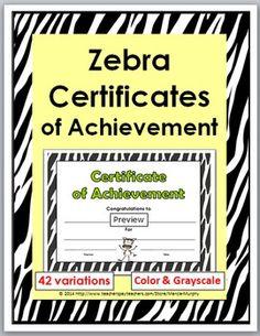 Zebra Certificates of Achievement - 42 Variations {Color & B+W)