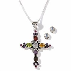 "Nicky Butler 5.17ct Multigemstone Sterling Silver Cross Pendant with 18"" Chain and Earrings Set at HSN.com."