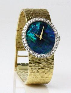 STUNNING Ladies PIAGET 18k Gold Black Opal Face 1/2 Carat Diamond Wrist Watch NR #Piaget #LuxuryDressStyles